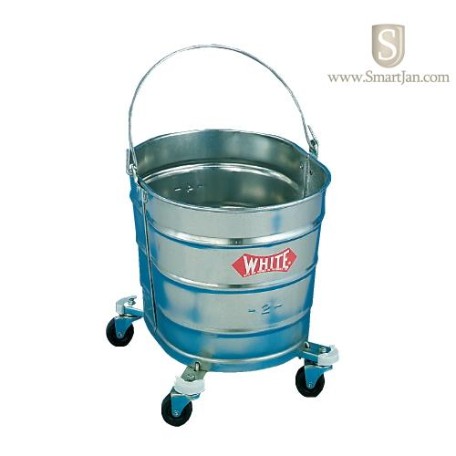 White metal mop bucket